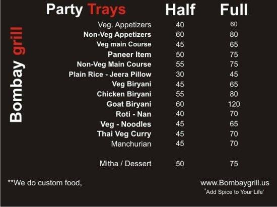 Bombay Grill : New Party tray menu