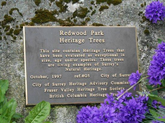 Redwood park sign