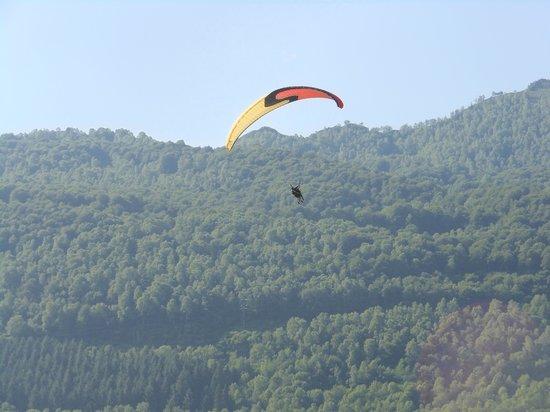 Camping Azun Nature : atterissage des parapentes dans le champs à coté