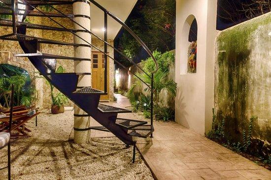Casa Del Maya: Rear Courtyard and Spiral Staircase
