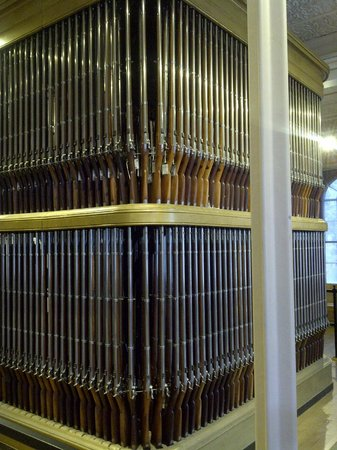 """Springfield Armory National Historic Site: The rifle """"organ""""."""