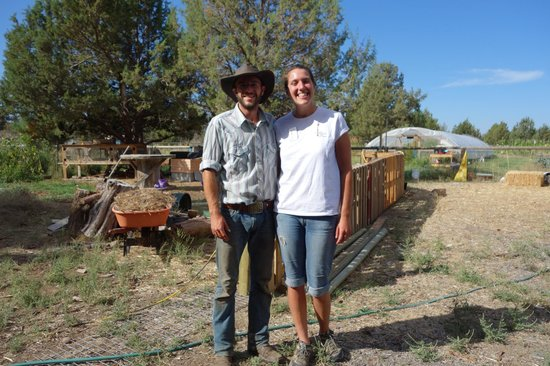 The Well Traveled Fork: Aliza with the owner of Juniper Jungle.Farm.