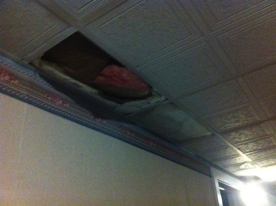 Eisenhower Hotel & Conference Center: Hole in the hallway ceiling with moldy insulation falling through