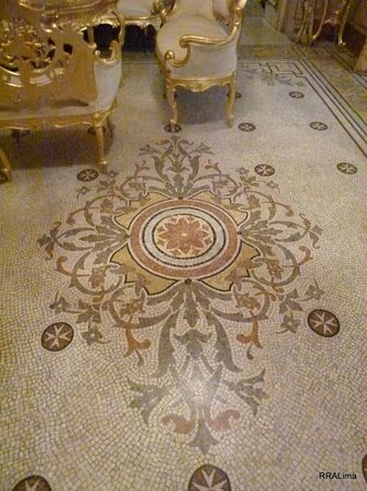Palazzo Parisio & Gardens: Beautiful mosaics on the floor of Marquis Scicluna's study