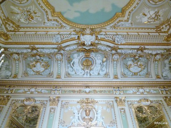 Palazzo Parisio & Gardens: The wonderfully adorned ceiling of the Ballroom (detail).