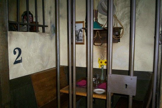 Jailhouse Motel & Casino: Our 2nd Anniversary Dinner Table in Cell #2