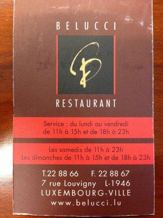 Belucci Restaurant : biglietto da visita