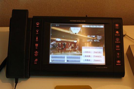 Lotte Hotel Seoul: Room control panel