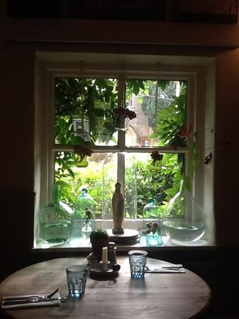 The Horse guards inn: Front window and laid table