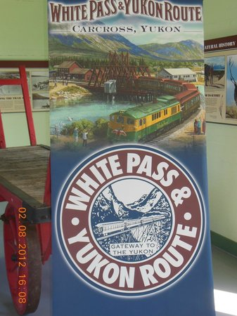 Carcross Railway Station: display board inside the station building