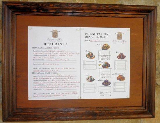 Agriturismo Relais Borghetto il Montino: Menù