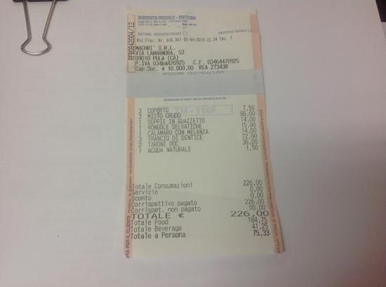 Pula, Italie : the receipt