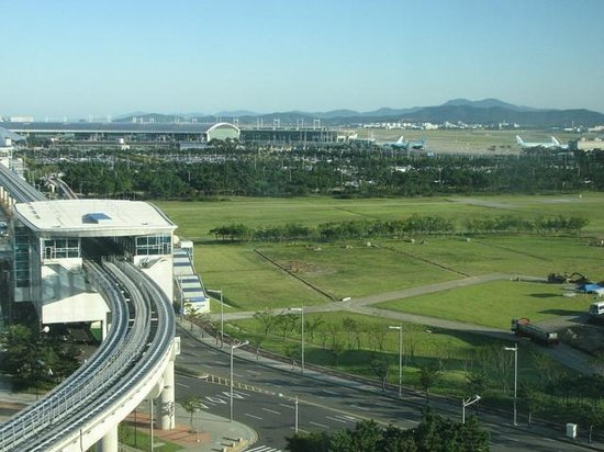 World Guest House: Looking out across to airport, early morning