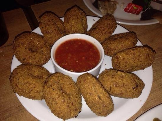 Afteem: Falafel with holes, like donuts. crispy crunchy tasty