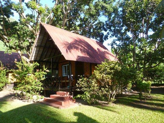 Fare Vaihere : Vue du bungalow au milieu du parc