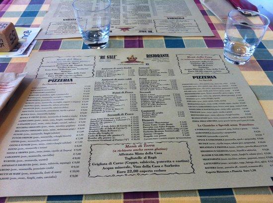 Re Sale Ristorante : il menù stampato sulle tovagliette