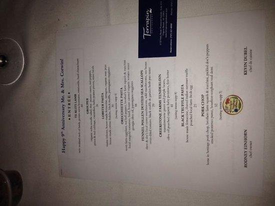 Terrapin Restaurant: menu