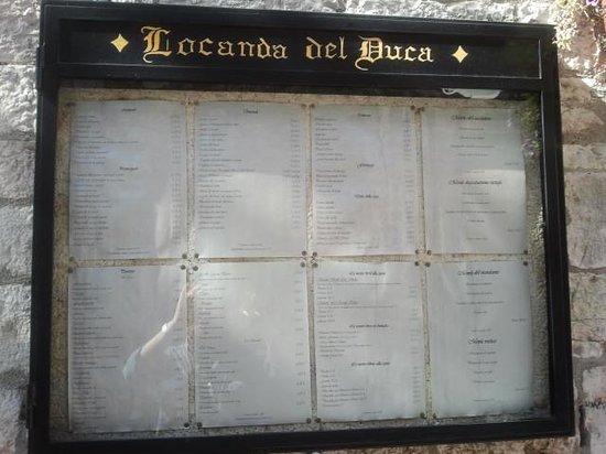 Hotel Ristoranti Locanda del Duca : menù esterno