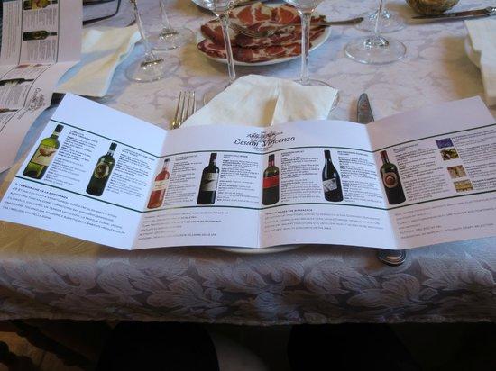 Agriturismo Cesani : List of wines to taste