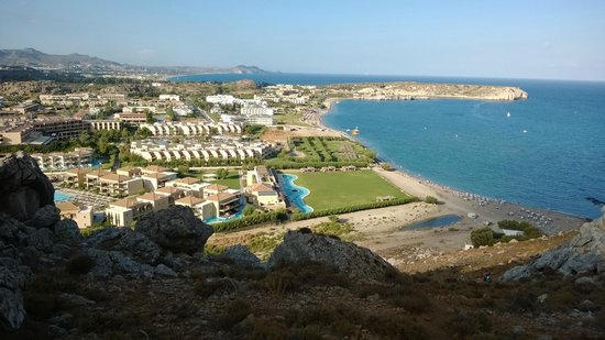 Atlantica Aegean Park: Overlooking the hotel from the mountain behind the hotel