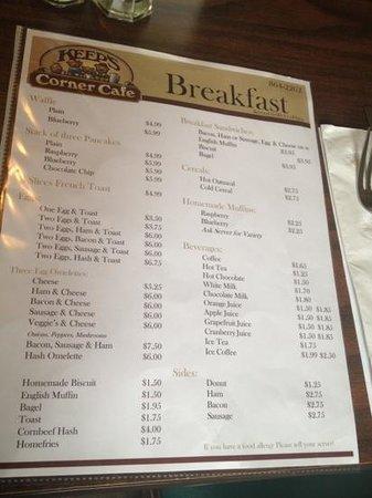 Keep's Corner Cafe & Bakery: Breakfast Menu