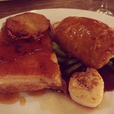 The Cromwell Cottage: Braised Pork Belly with Scallops and Mash