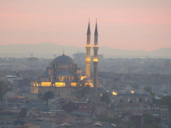 The Marmara Pera Hotel: As night falls, the mosques light up.