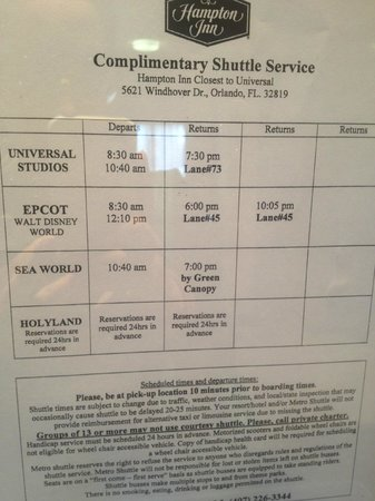 Hampton Inn Closest to Universal Orlando : Shuttle Schedule