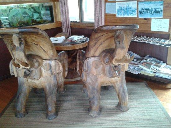 Mount Elephant Pancakes: Elephant chairs, beautifully carved.