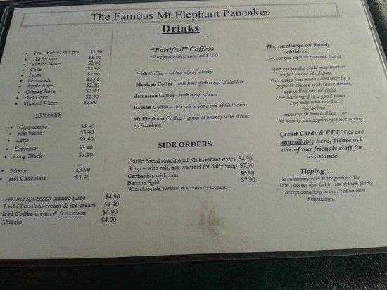 Mount Elephant Pancakes: Menu