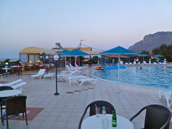 Zorbas Beach Village Hotel: View west from pool/dining area