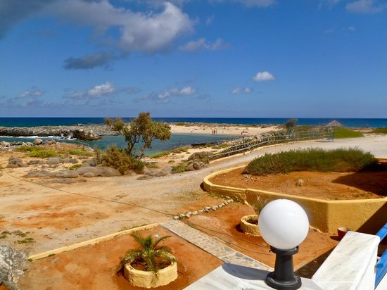 Zorbas Beach Village Hotel: Beach and lagoon view from pool area, a short, easy walk