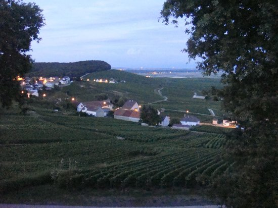 Champagne Petitjean-Pienne : view from window at dusk