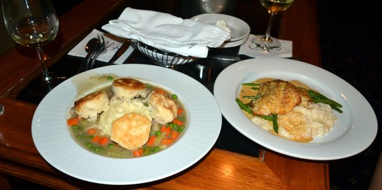 Speakeasy Bar: Chicken Pot Pie on the left and Rockfish on the right