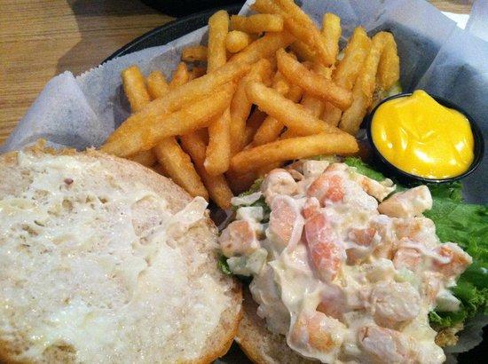Crest Tavern: shrimp salad sandwich with cheese fries