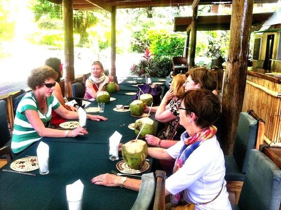 Daku Resort: Welcomed with a coconut drink. Ahhh yum.