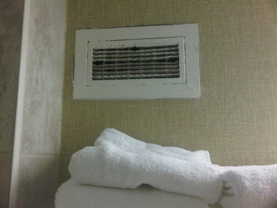 International Plaza Hotel Toronto Airport: Dirty Grill in our bathroom right above our clean towels