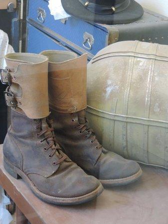 Pioneer Museum: Second floor, WWI combat boots