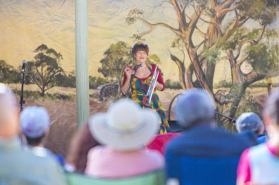 Alice Springs Courtyard Sessions: July artist Bec Matthews entertains the crowd for the Winter Dance Party and World Music Concert