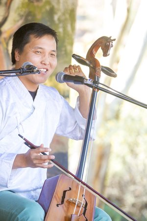 Alice Springs Courtyard Sessions: Mongolian throat singer Buhku at the July Courtyard Session's celebration of World Music.