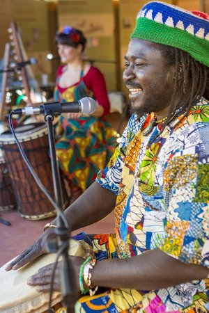 Alice Springs Courtyard Sessions: July Courtyard Session artists King Marong and Bec Matthews at the World Music Celebration.