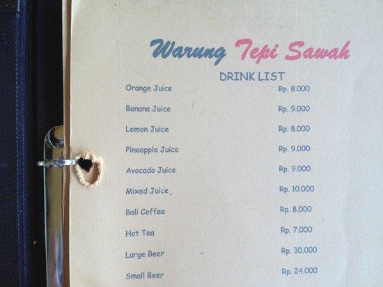 Warung Tepi Sawah: Drinks list: AU$ = Rp 10,000