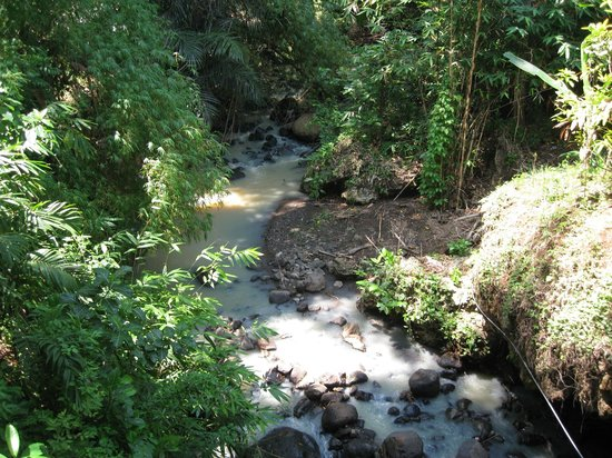 Banjar Hot Springs: view from the bridge to the SPA