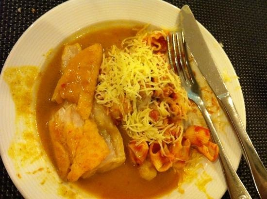 Servigroup Orange Hotel: Fish in curry sauce - shame the fish was uncooked on the inside !