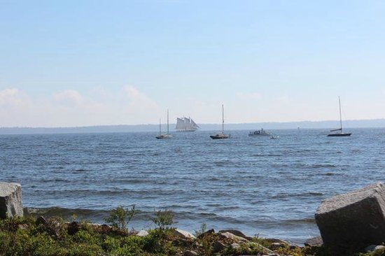 Beach Cottage Inn: In the Bay a Schooner sailing by