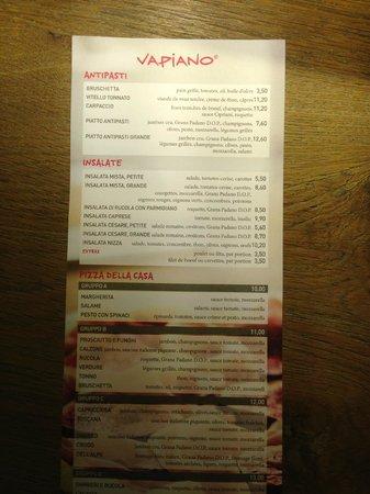 Vapiano Kirchberg : menu