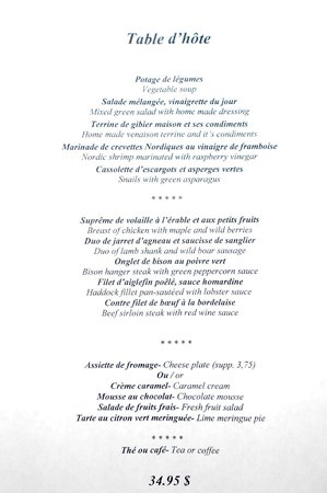 The menu table d 39 hote picture of bonaparte montreal for Table d hote 52