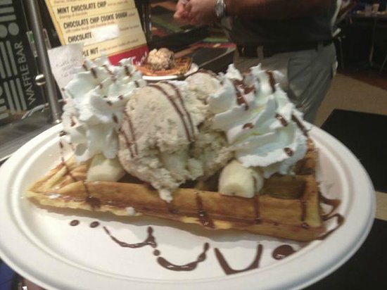 Waffle Frolic: Buttermilk wafflle with bananas, ice-cream, chocolate sauce and whipped