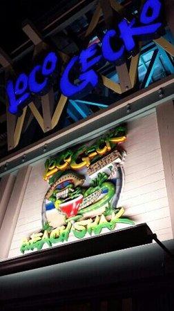 Loco Gecko entrance at night.