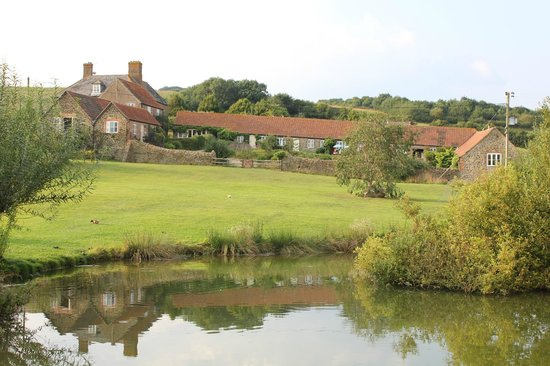 Rudge Farm Cottages: View of cottages from pond